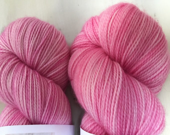 Bubblegum - 100grams 4ply Fingering weight 80/20%   Hight Twist merino and nylon sock yarn -