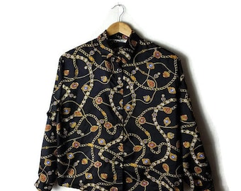 Vintage Black x jewelry patterned Long sleeve Silky Blouse from 1980's*