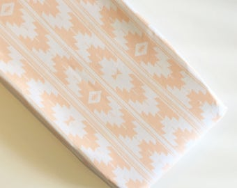 Peach blush Kilim changing pad cover - tribal Aztec southwest nursery - blush pink white peach nursery - girl baby shower gift