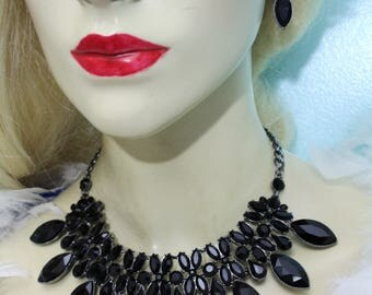 Statement Necklace Rhinestone Crystal Earrings Jet Black Goth Steampunk Jewelry
