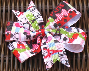 French Themed 4 inch Bow in 3 Versions - Paris Bows - Eiffel Tower Bow - French Poodle Bow-Paris Party Favor-French Hair Accessory -BowBravo