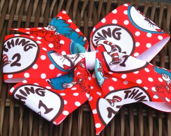 Thing 1 and Thing 2 5 Inch Pinwheel Bow - Seussical Bow - Seuss Pinwheel-Dr. Seuss Party-Dr. Seuss Party Favor-Seuss AccessoryBowBravo