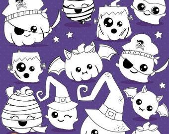 80% OFF SALE Halloween Pumpkin kawaii digital stamp commercial use, ghost vector graphics, digital stamp, digital images - DS1017