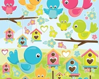 80% OFF SALE birds clipart commercial use, bird clipart vector graphics, bird house digital clip art, baby birds digital images - CL997