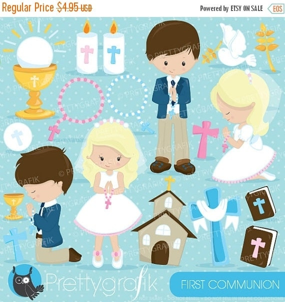 80% OFF SALE First communion clipart commercial use, christian ...