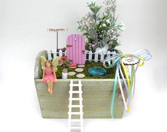 Fairy Garden Kit, Easter DIY fairy garden, starter kit, FAIRY DOOR + Key, miniature garden accessories, fairy garden accessory, fairy supply