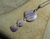 Handmade Natural Surf Tumbled Purple Wampum Sea Shell Necklace on Chain