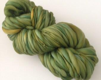 Handspun Thick and Thin Merino Yarn - 50 yds - Avocado