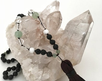 Mala Necklace, Clear Quartz Necklace, Aventurine Necklace, Lava Bead, Lava Stone, Howlite Beads, Tassel Necklace, Gemstone Necklace