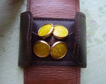 Vintage Italian Leather & Gilt Cufflinks/Cuff Links In Leather Wallet/Pouch - 'Tamerici - Italy' - Mustard/Ochre.