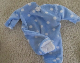 """Baby Alive Doll Clothes  Handmade Footed PJ's Sleeper fits 12-13"""" MINKY SOFT Fabric"""