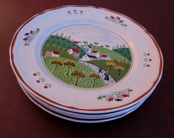 Four Dinner Plates, NEWCOR Stoneware, Country Village, Japan
