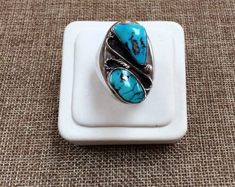 Vintage Native American Sterling Silver Turquoise Ring, Size 10.5