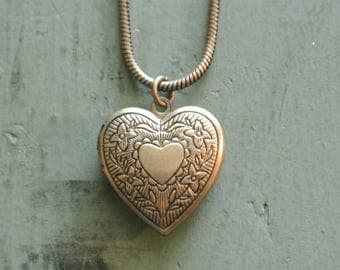 Locket Heart Necklace, Brass Heart Locket, Photo Keepsake, Perfect Mother or Daughter Gift, Other styles also available By UPcycled Works