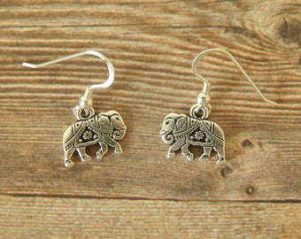 Elephant Earrings, Sterling Silver Elephant Earrings, Elephant Drop Earrings, Elephant Dangle Earrings, Lucky Elephant Charm Earrings