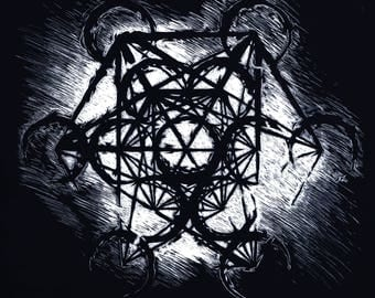 Metatron's Cube - Original Scratchboard Etching