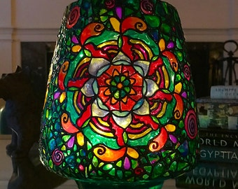 Stained Glass | Mosaic Mandala | LED Votive Lamp