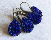 Deep Purple Teardrop Druzy Earrings - Leverback Hooks, 18mmx13mm Bronze Bezel Trays, Iridescent Violet, Cobalt Blue, Boho Chic Bridesmaids