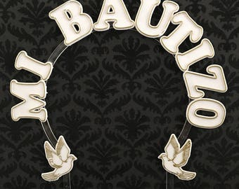 Mi Bautizo White Plastic Arch Cake Topper Decoration Keepsake Gift