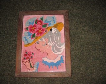 "PAINTING On PINK VELVET Young Girl In Large Bonnet Smelling Flowers In Antique Wood Frame 14"" x 18"" From The 50's-60's"