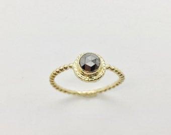 Black Diamond Ring in 14K gold, Rose Cut 5mm black diamond ring,  Diamond Ring, Friendship Ring