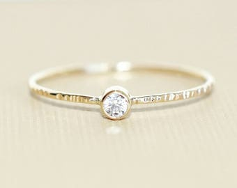 14k SOLID gold White Topaz ring on a tiny thread/ Ultra thin ring with a 2.5mm stone/ Stacking ring/ Everyday jewelry