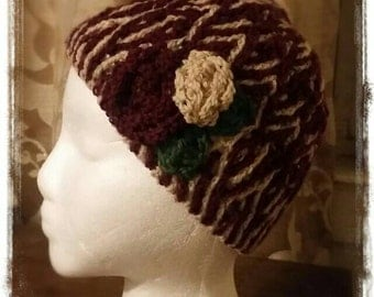 Twigs and roses beanie - size 2-3 yrs old