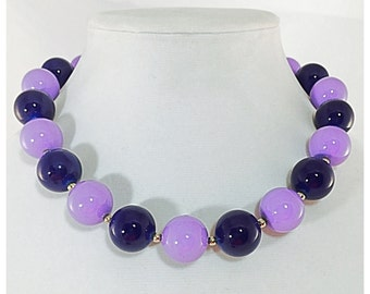 Chunky Beaded Necklace in Purple and Lavender, Big Bead Necklace, Plum Purple and Lilac Purple Beaded Necklace