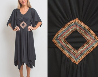 70s HIPPIE Dress Vintage PSYCHEDELIC Gypsy Black RETRO Large Dress