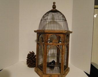 Large Vintage Wooden Birdcage