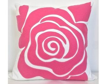 Modern Rose Petal Pillow in Hot Pink Felt on Creamy White Cotton Twill