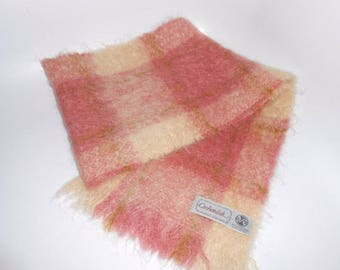 Vintage Cushendale Mohair Wool Blend Woven Scarf Made in Ireland Rose Gold