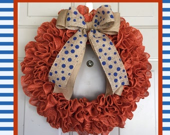 Orange Ruffle Burlap Wreath