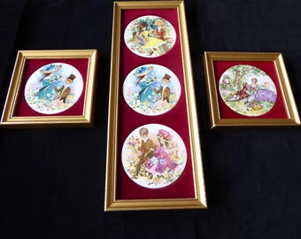 Vintage Set of  3 Genuine Staffordshire Ceramic Wall Plaques By Harleigh China Co. 1971