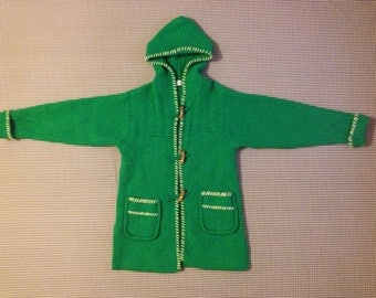 1990's, bright green, wool, hooded, toggle sweater-jacket, Women's size Medium
