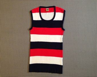 1970's, long and lean, tunic, sweater vest, in white, navy and red, wide stripes, Women's size Medium