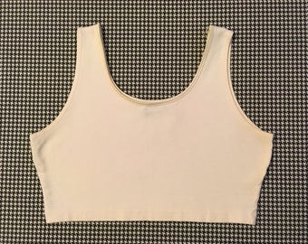1990's, super cropped, tank top, in white, Women's size Medium