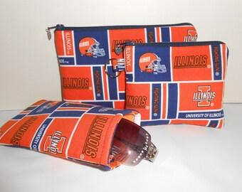 University of Illinois NCAA Cosmetic Bag Eyeglass Case Coin Bag Set Handmade Handbag Accessories ON SALE