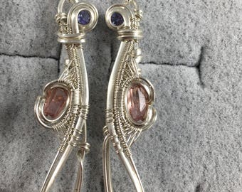 Wire wrapped earrings - pink tourmaline and tanzanite