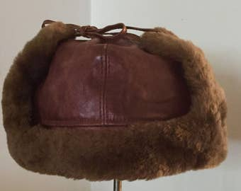 Vintage Italian Leather  Hat ... Free Shipping ... 10% Off Coupon SAVE10