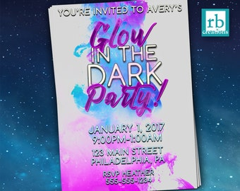Glow in the Dark Party Invitations, Glow in the Dark Invitations, Glow in the Dark Birthday, Neon Party, Neon Birthday  - Digital Printable