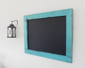 Turquoise FRAMED CHALK BOARD with Distressed, Vintage Look - 30 x 40 - More Colors Available