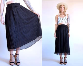 Vintage Skirt Pleated Black Midi Chiffon