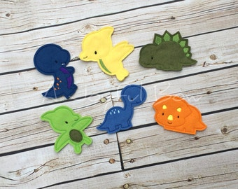 Dinosaur finger puppets with volcano bag,  dinosaurs, finger puppets, Dino birthday, toddler toys, toddler gifts, dinosaur birthday party