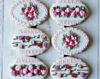 Floral Lace Cookies - 1 Dozen Intricate Lace Sugar Cookies, Flower Sugar Cookies, Bridal Sugar Cookies, Baby Shower Cookies