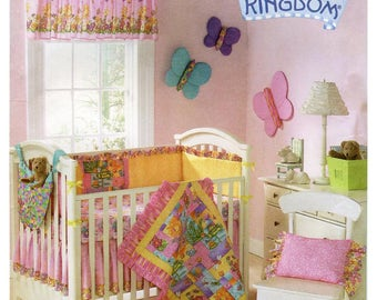 Simplicity Sewing Pattern 3798 Nursery Accessories Daisy Kingdom Quilt, Bumpers, Dust Ruffle, Pillow, Toy Hammock, Sheet, Valance, Butterfly