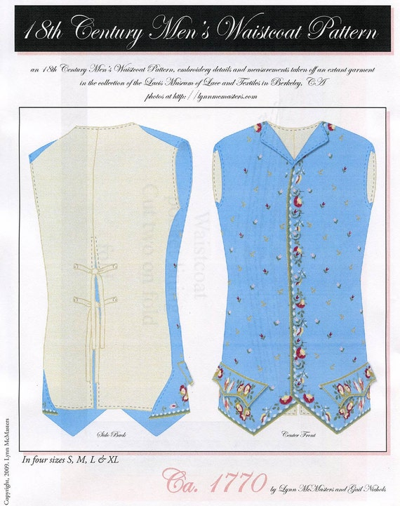 Men's 18th Century Waistcoat size S-XL Circa 1770 Vest - Lynn McMasters Sewing Pattern