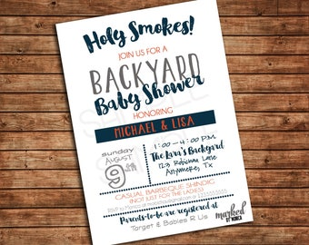 Backyard Baby Shower Invitation, Printable, Birthday, Invite, DIY, White, Blue, Orange, BBQ