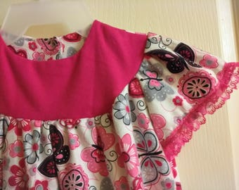 Girls Butterfly  long flannel  Nightgown sizes  5/6/7  custom homemade