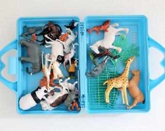 Vintage plastic McDonalds box of plastic zoo/farm animals and fencing
